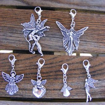 Tibetan Silver Guardian Angel Clip Charms