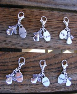 Tibetan Silver Angel with Inspired Words Clip Charms