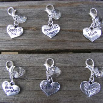 Antique Silver Heart Clip Charms